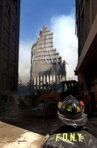 New York City fireman views South Tower remains